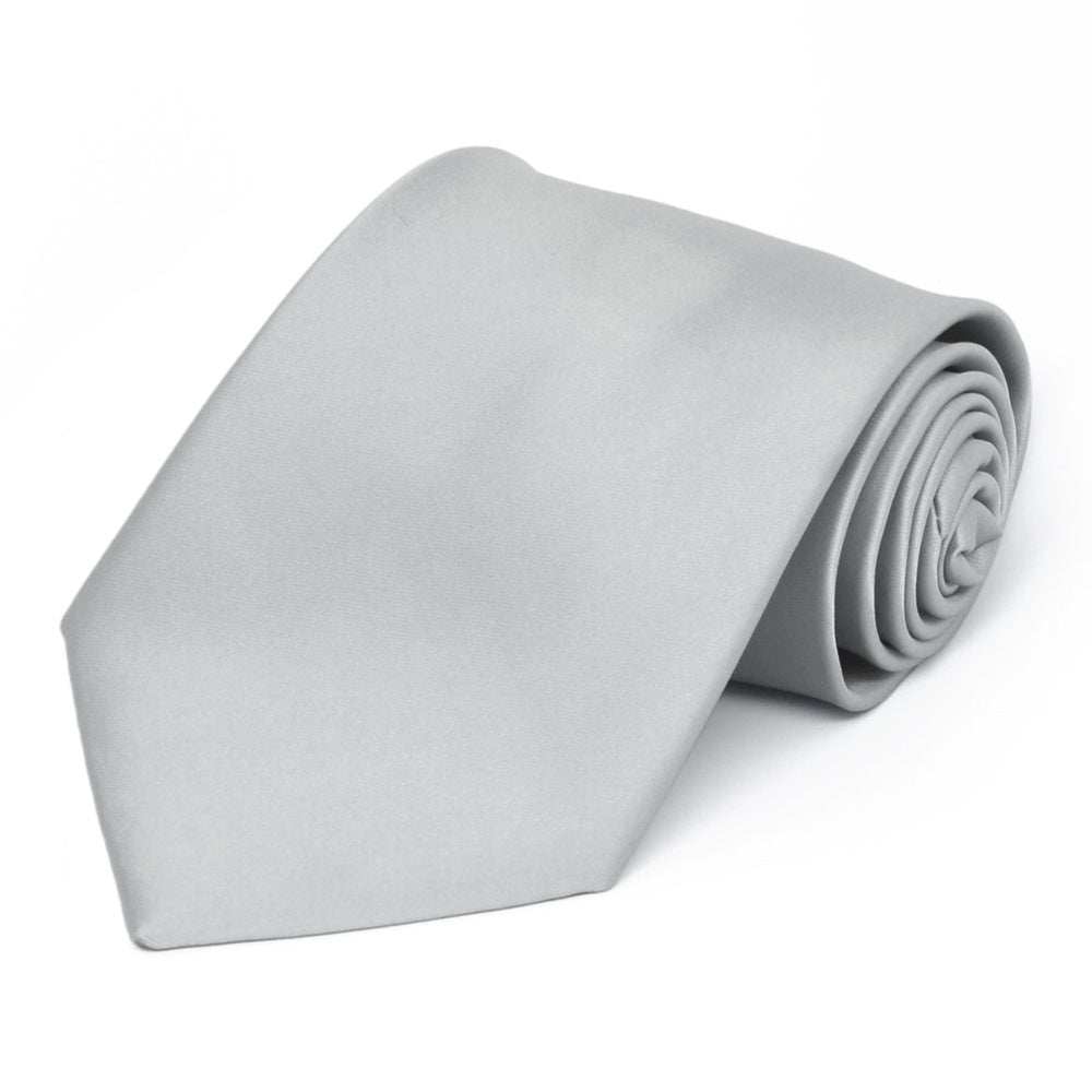 Light Silver Premium Solid Color Necktie