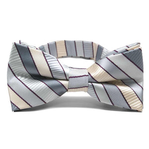 Light Silver Douglas Stripe Band Collar Bow Tie