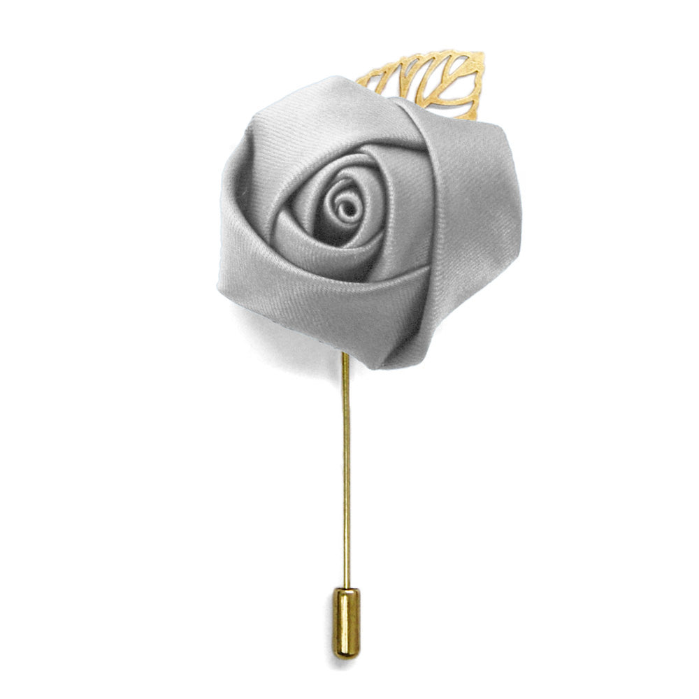 Light Silver Premium Flower Lapel Pin