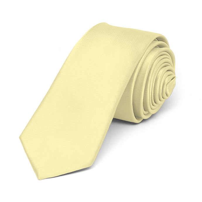 Light Yellow Skinny Solid Color Necktie, 2