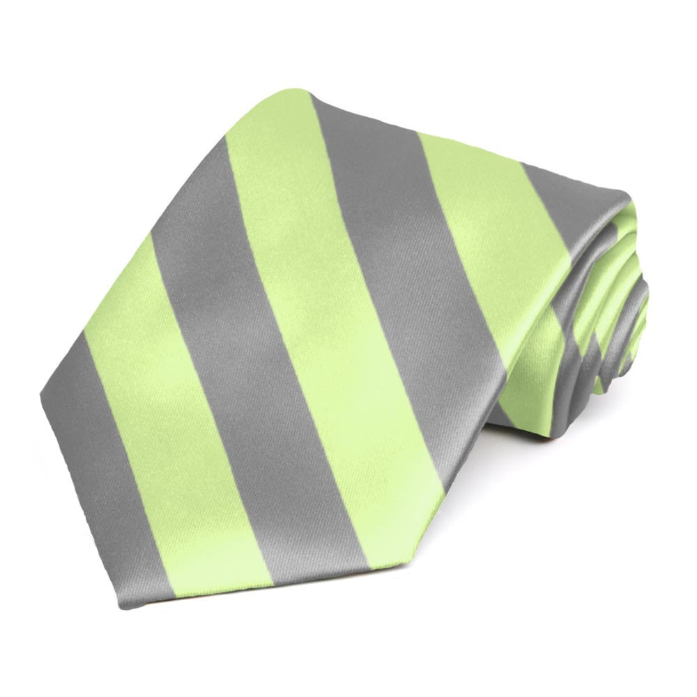 Lime Green and Gray Striped Tie
