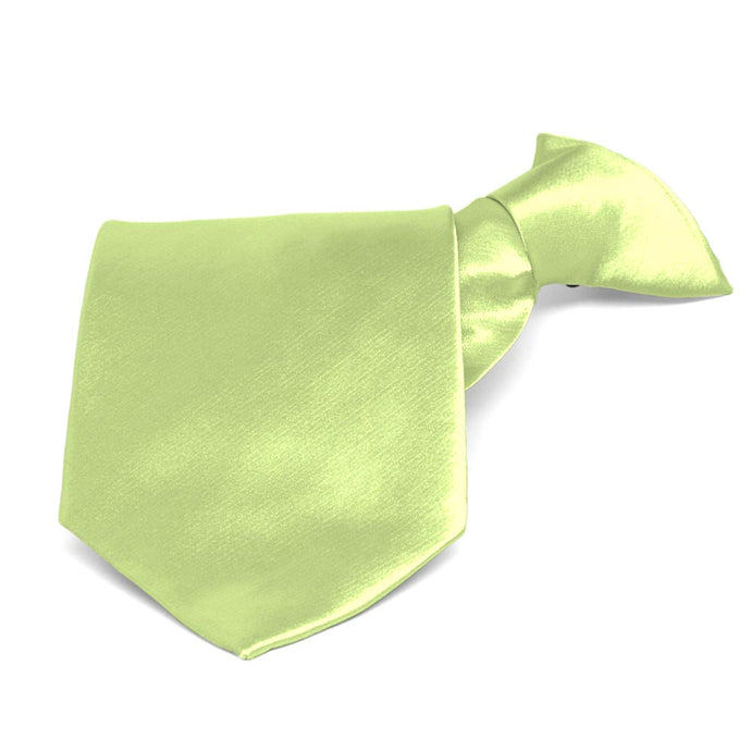 Lime Green Solid Color Clip-On Tie
