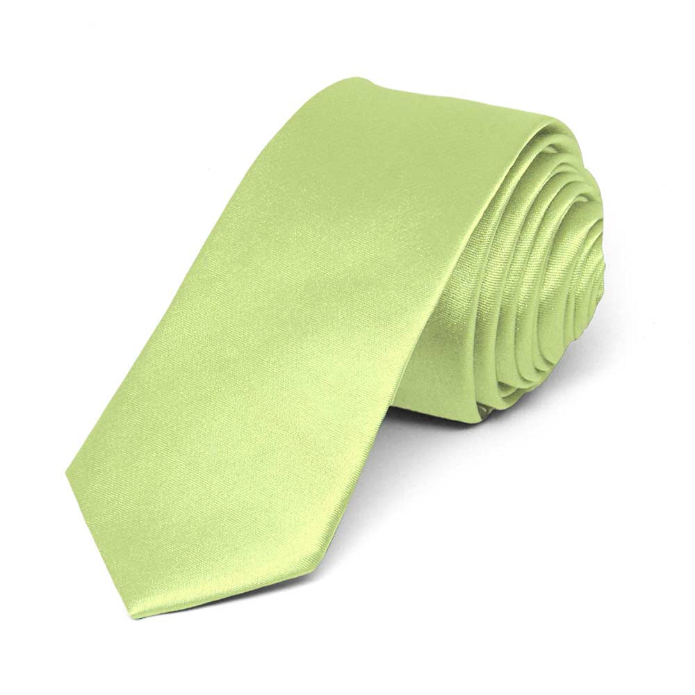 Lime Green Skinny Solid Color Necktie, 2