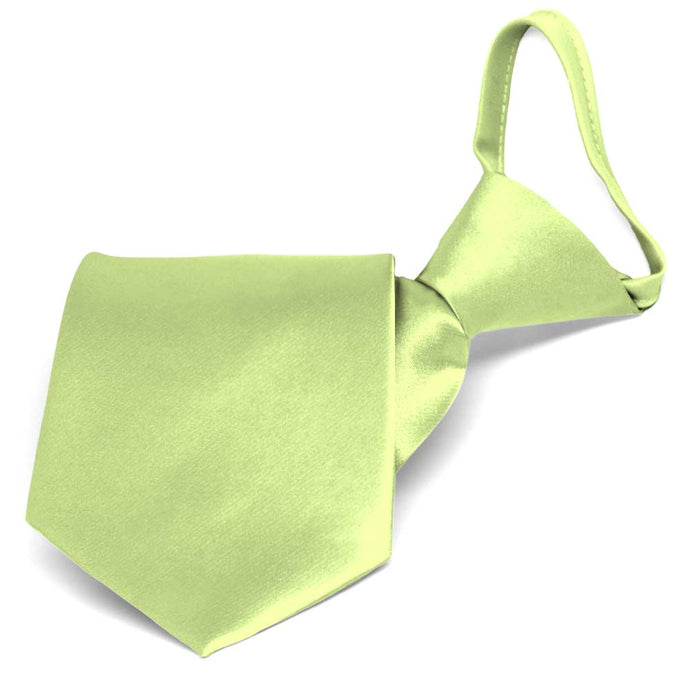 Lime Green Solid Color Zipper Tie