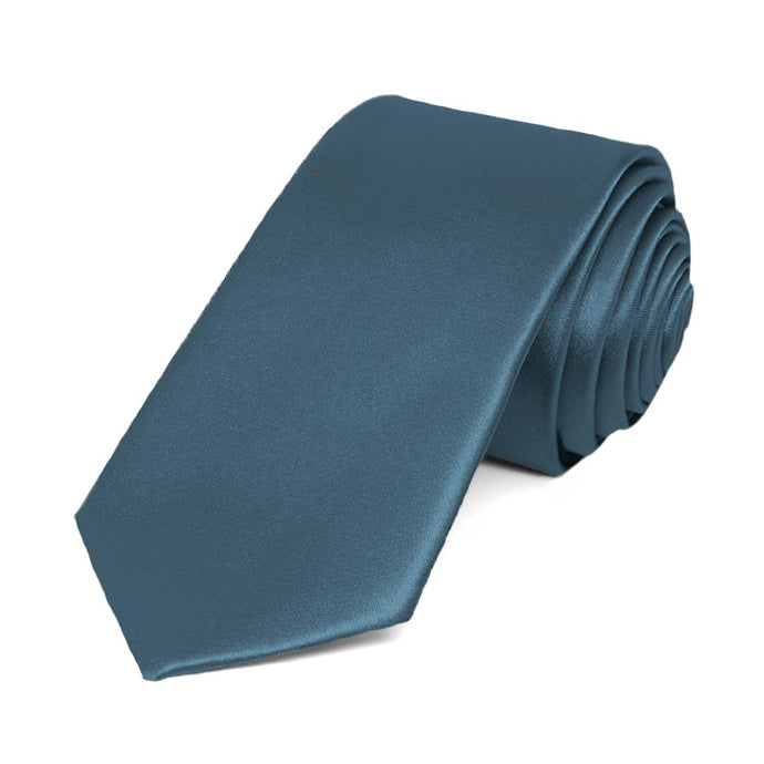 Loch Blue Slim Solid Color Necktie, 2.5