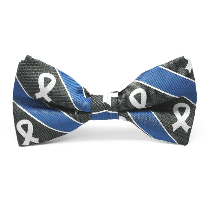 Lung Cancer Awareness Striped Cotton/Silk Bow Tie