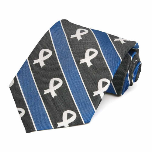 Colon Cancer Awareness Striped Cotton/Silk Extra Long Tie