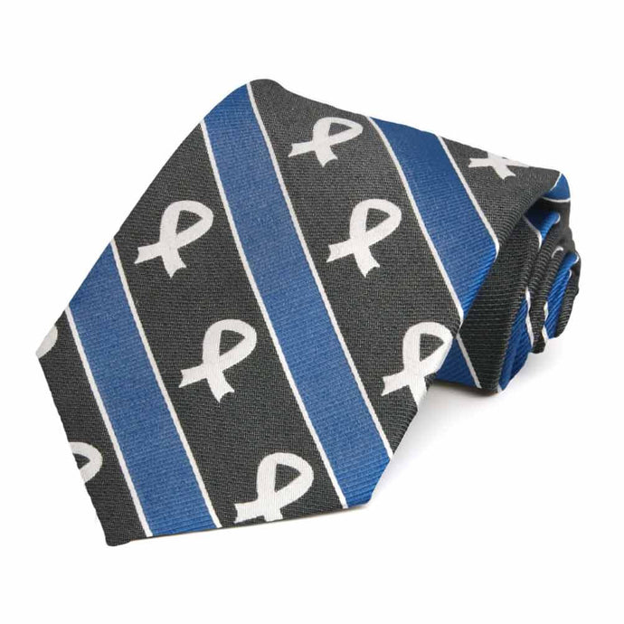 Lung Cancer Awareness Striped Cotton/Silk Extra Long Tie