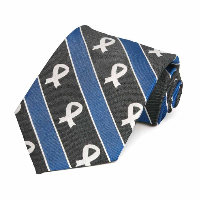 Lung Cancer Awareness Striped Cotton/Silk Tie