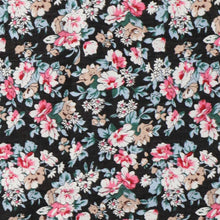 Load image into Gallery viewer, Black floral cotton fabric