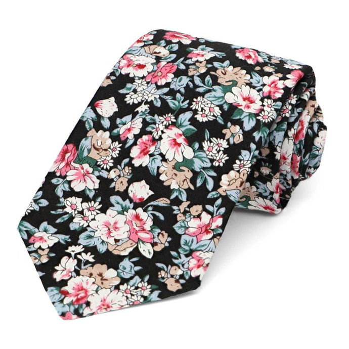 Lynwood Floral Cotton Narrow Necktie