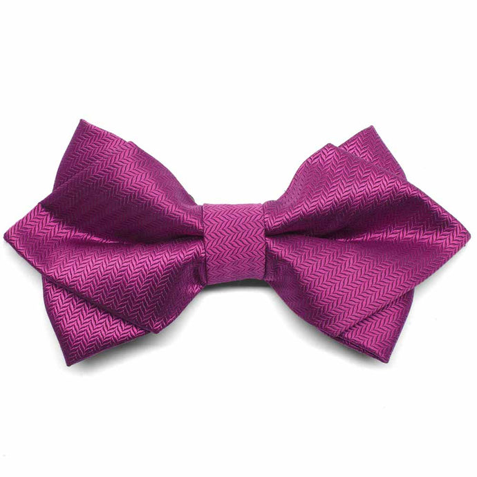 Magenta Herringbone Diamond Tip Bow Tie