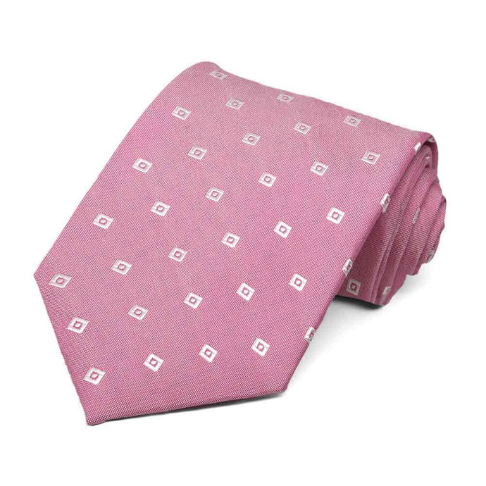 Light Magenta Technician Check Silk/Viscose Necktie