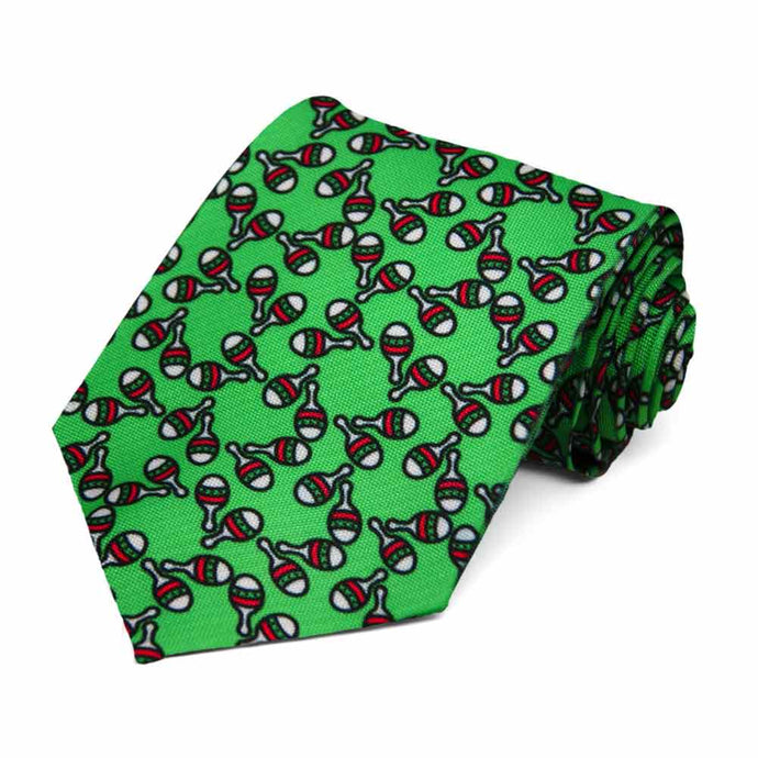 Mexican Maraca (Cinco de Mayo) theme on a green tie.