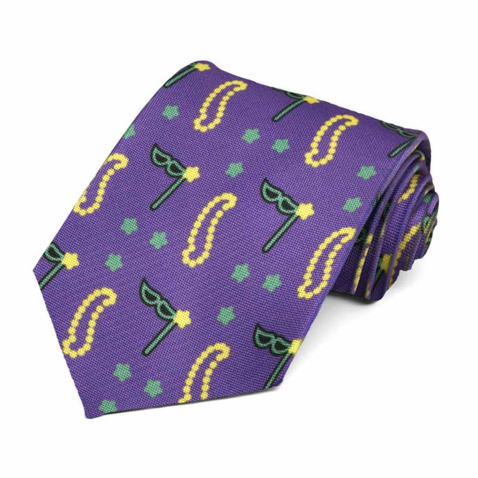 Masks and beads in a mardi gras theme on a darker purple tie.