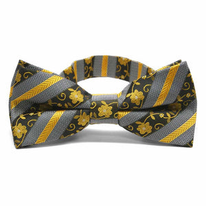 Marigold Yellow Anna Floral Stripe Band Collar Bow Tie