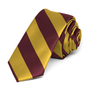 "Maroon and Gold Striped Skinny Tie, 2"" Width"
