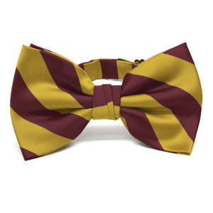 Maroon and Gold Striped Bow Tie