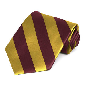 Maroon and Gold Striped Tie