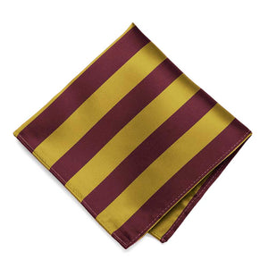 Maroon and Gold Striped Pocket Square