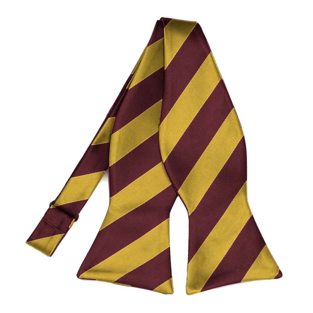 Maroon and Gold Striped Self-Tie Bow Tie