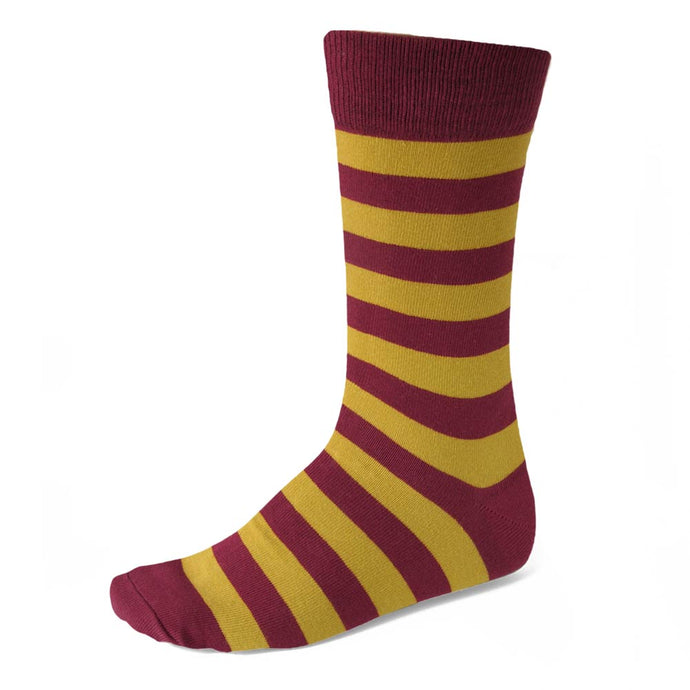 Men's Maroon and Gold Striped Socks