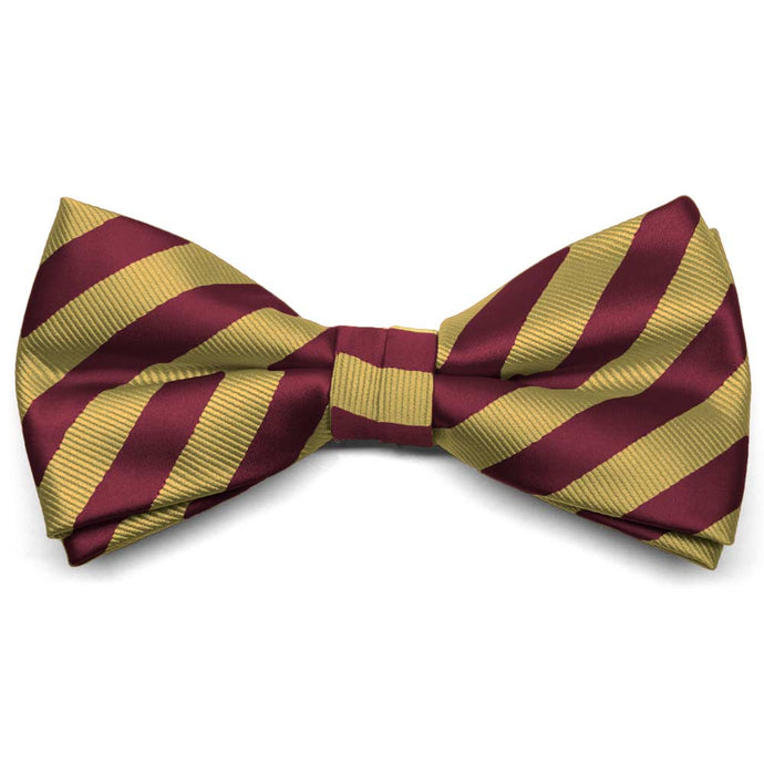 Maroon and Gold Formal Striped Bow Tie