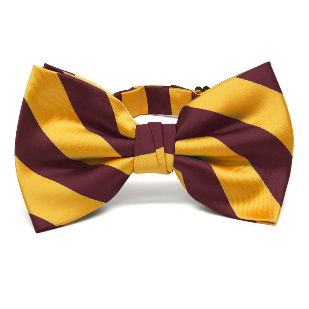 Maroon and Golden Yellow Striped Bow Tie