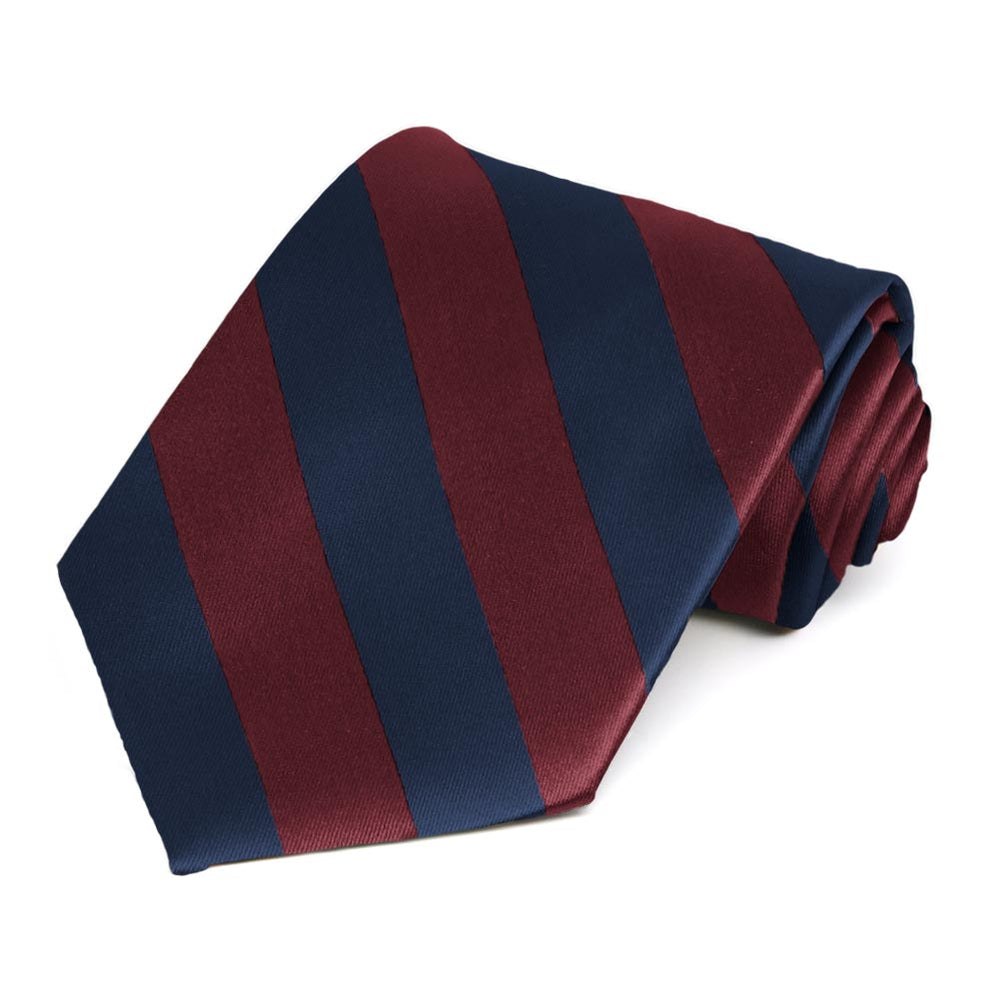 Maroon and Navy Blue Striped Tie