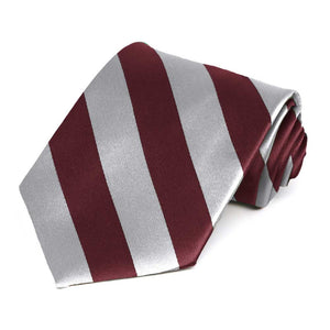 Maroon and Silver Striped Tie