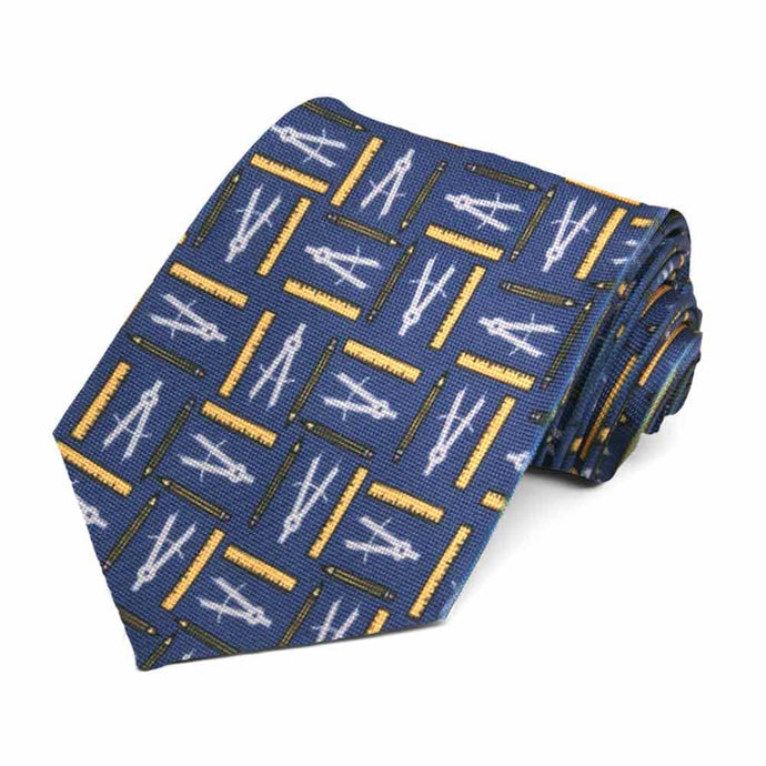 Mathematical tools in yellow and white on a darker blue tie.