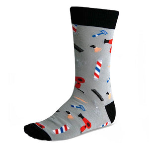 Men's black and gray babershop tools sock