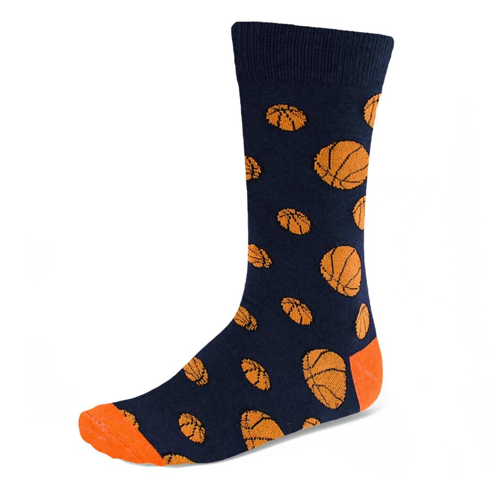 Men's navy blue and orange socks with a basketball theme