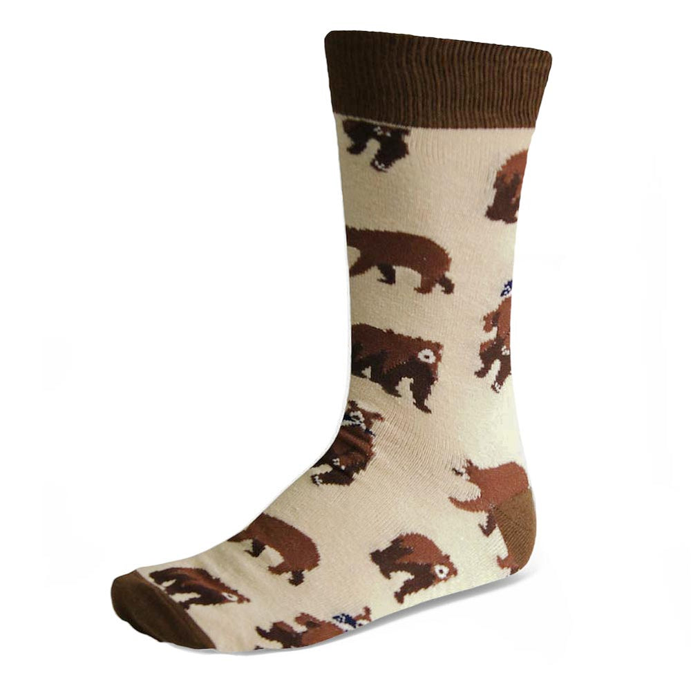 Men's bear socks in tan and brown