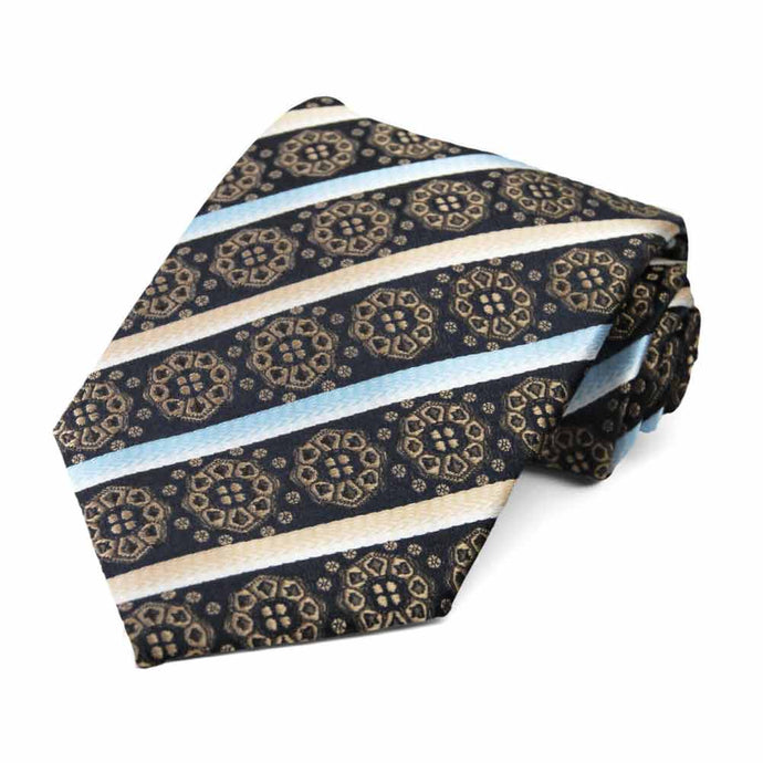 Latte Mesa Medallion Stripe Necktie
