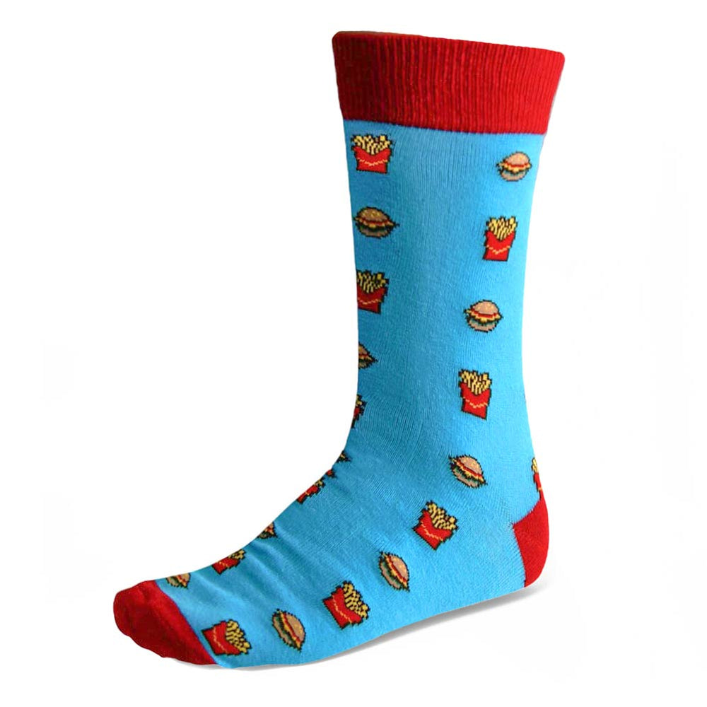 Men's Burger and Fries Socks in Blue, Red and Yellow