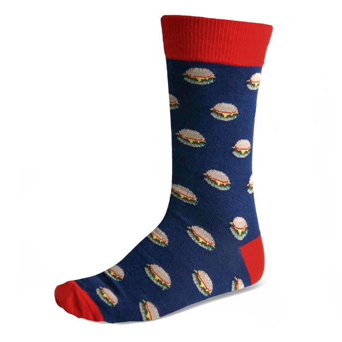 Men's cheeseburger theme socks in dark blue and red