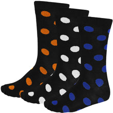 Load image into Gallery viewer, 3-pack of men's polka dot dress socks in royal blue, white and orange