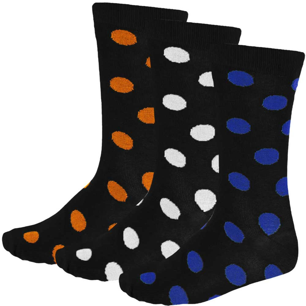 3-pack of men's polka dot dress socks in royal blue, white and orange
