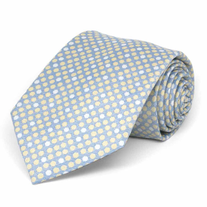 Powder Blue Socialite Dot Cotton/Silk Extra Long Necktie