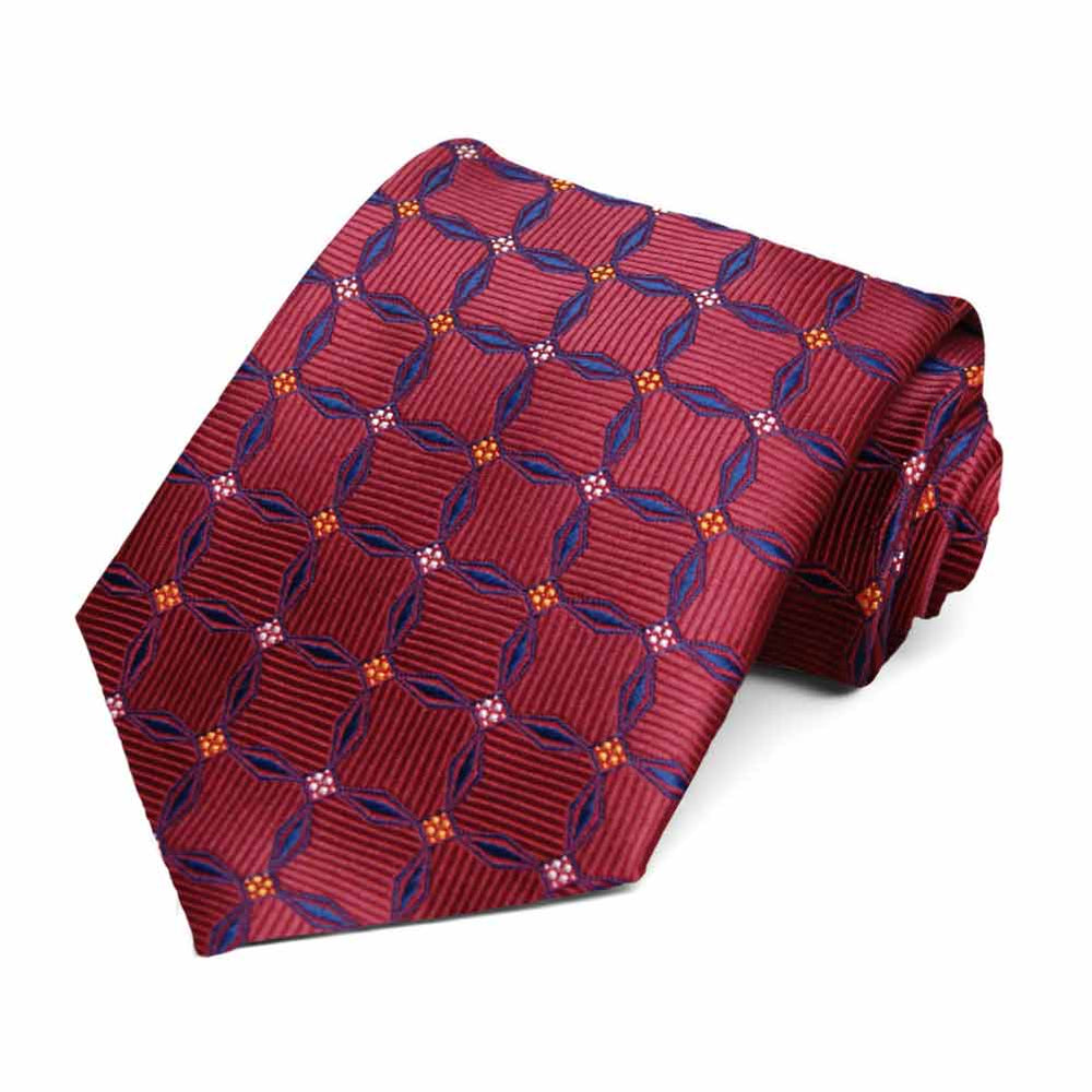 Crimson Red Winslow Geometric Necktie