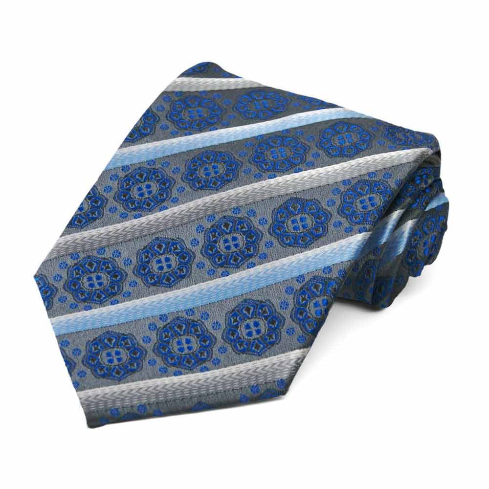 Gray Mesa Medallion Stripe Necktie