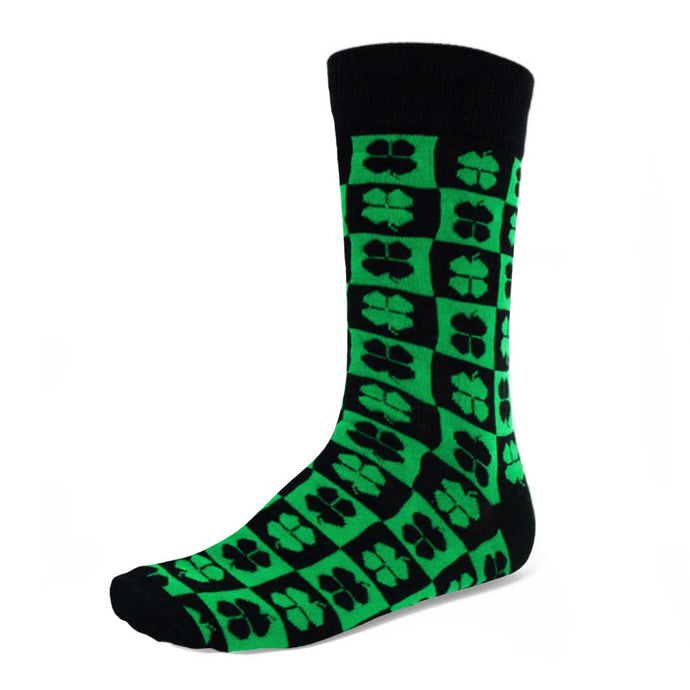 Men's four leaf clover crew socks on a green and black checkered background