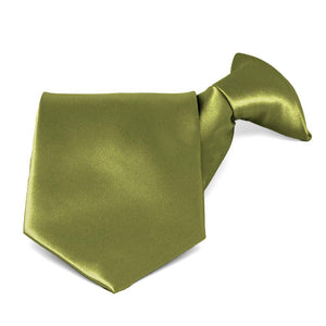 Olive Green Solid Color Clip-On Tie