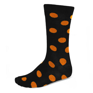 Men's orange and black polka dot socks