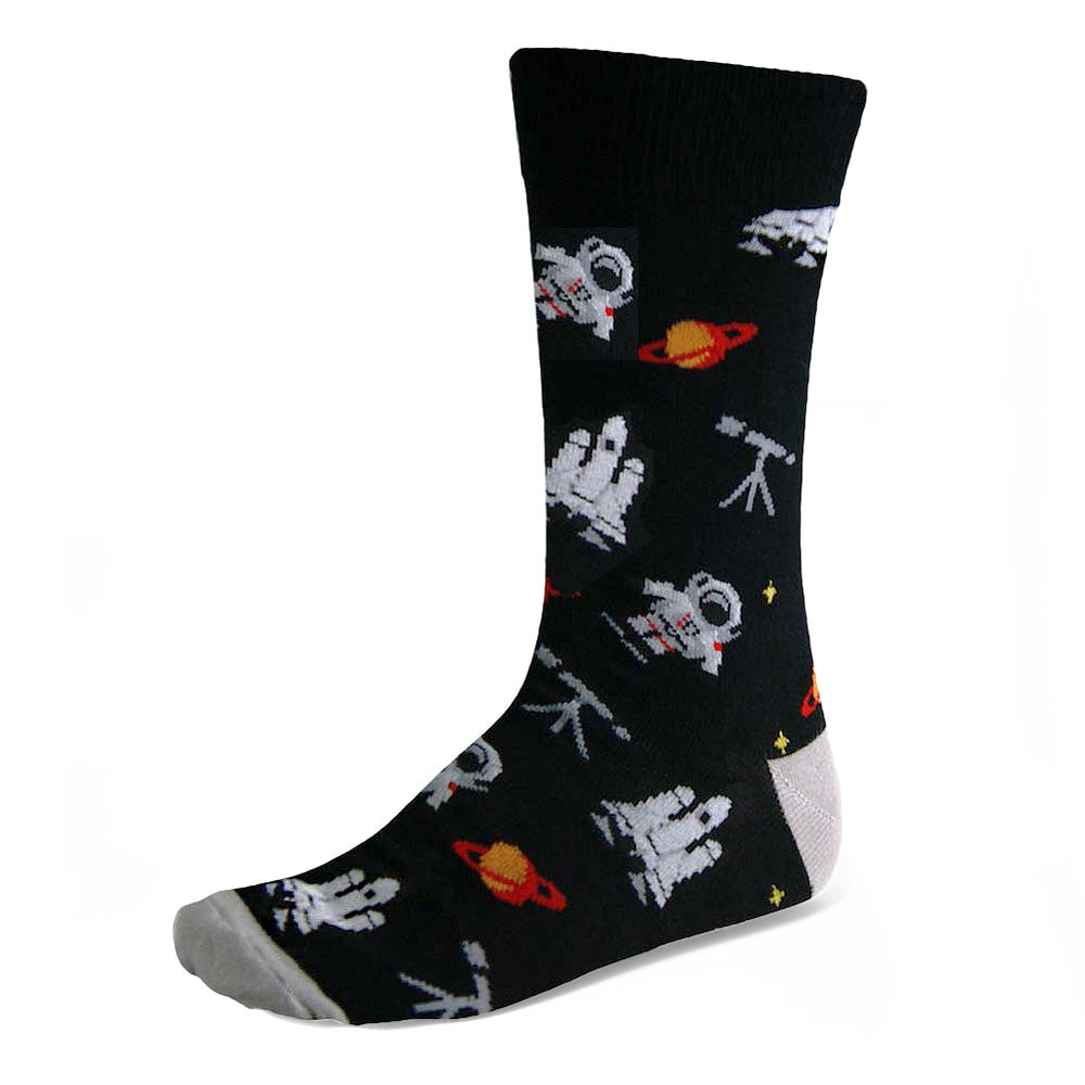 Men's black and gray astronaut socks in solar system