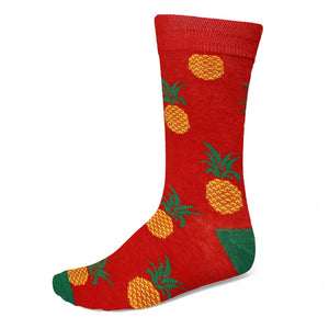 Men's pineapple graphic socks on a red background