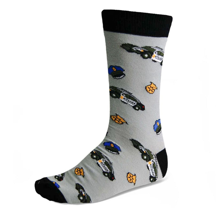 Men's police officer car, hat and badge dress socks on gray background