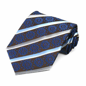 Royal Blue Mesa Medallion Stripe Necktie