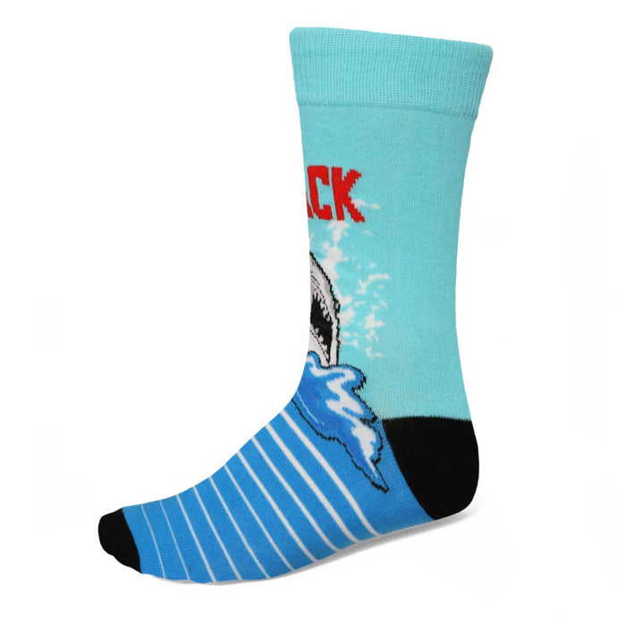 Men's shark attack blue crew socks